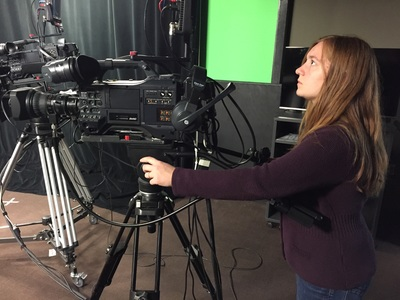 SDSU student runs camera Yeager Media Center control room during On Call with the Prairie Doc
